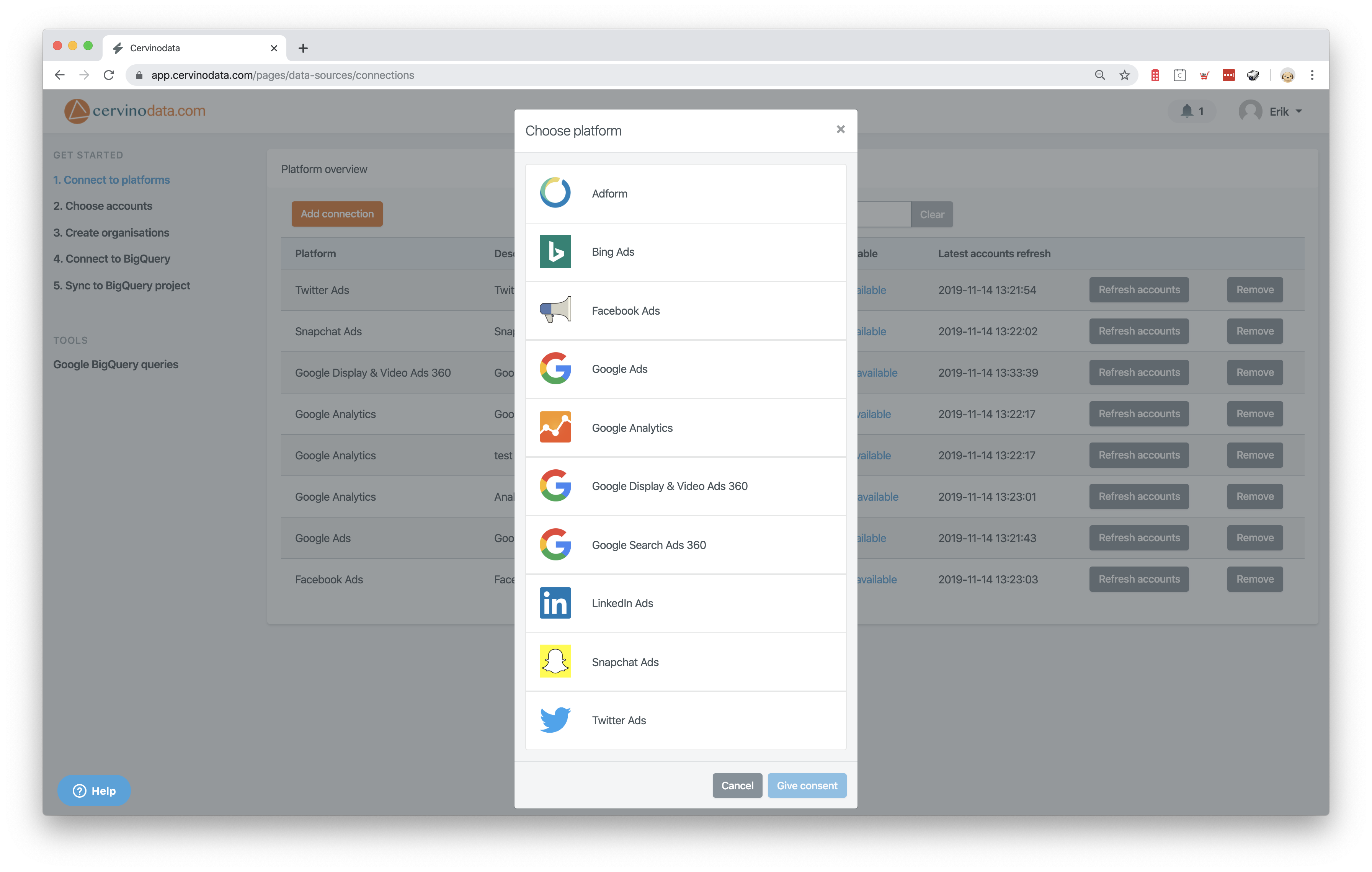 Cervinodata platforms Google Data Studio