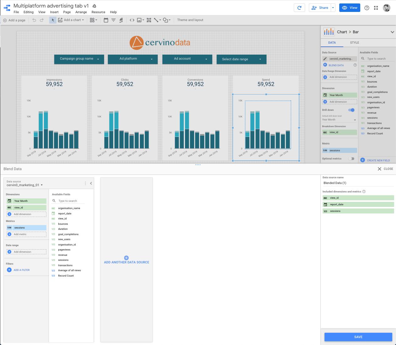 Google Data Studio blend data