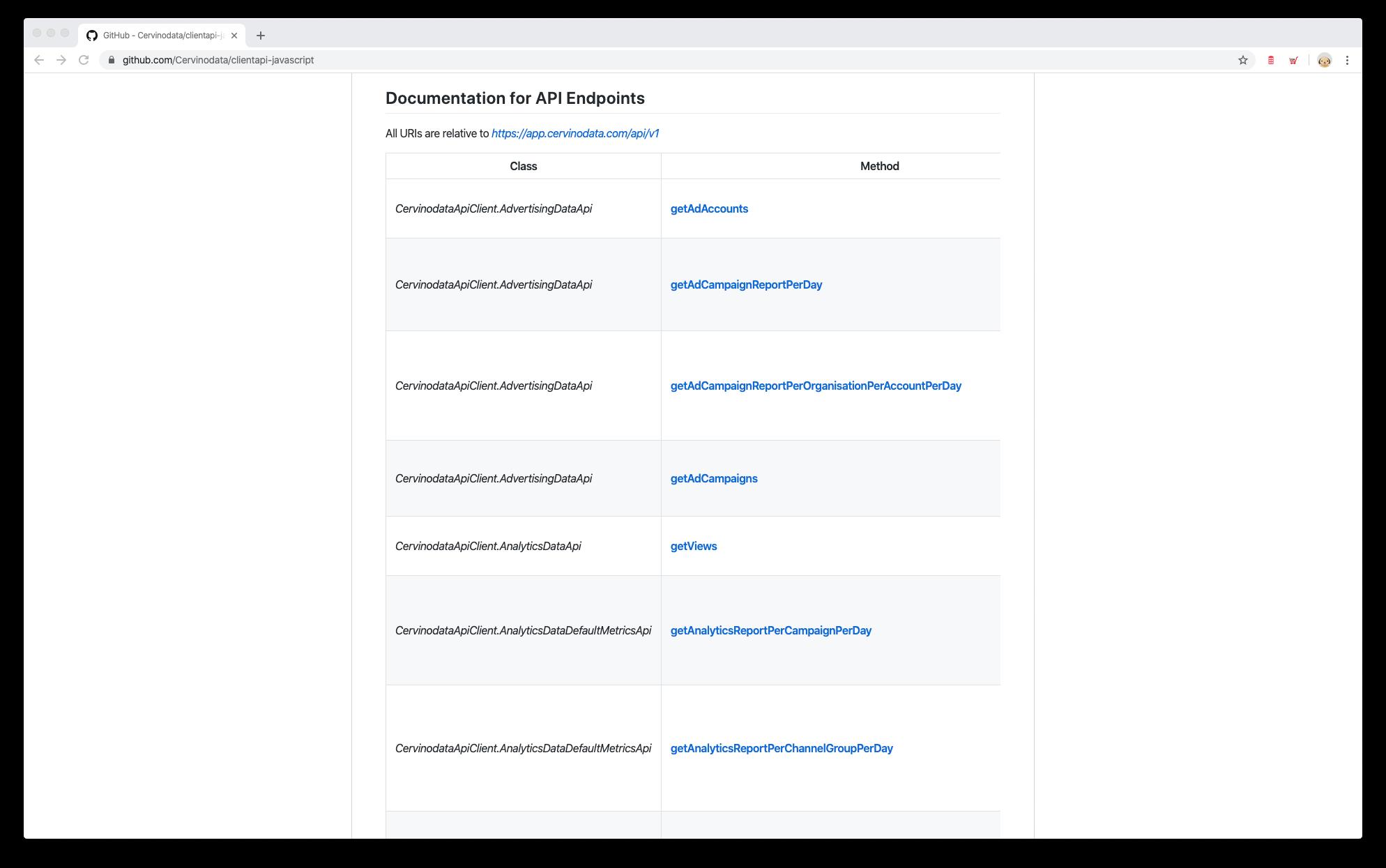 Cervinodata javascript api client end point