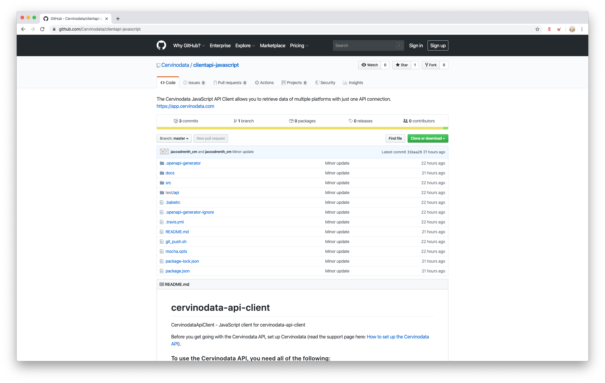 Cervinodata javascript api client