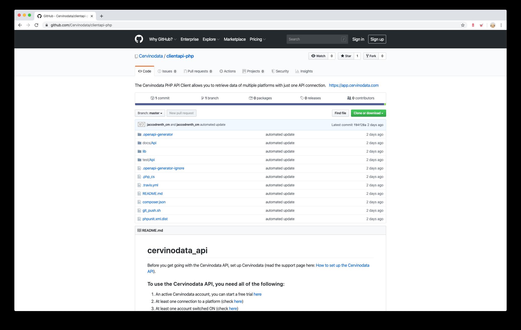 cervinodata php api client