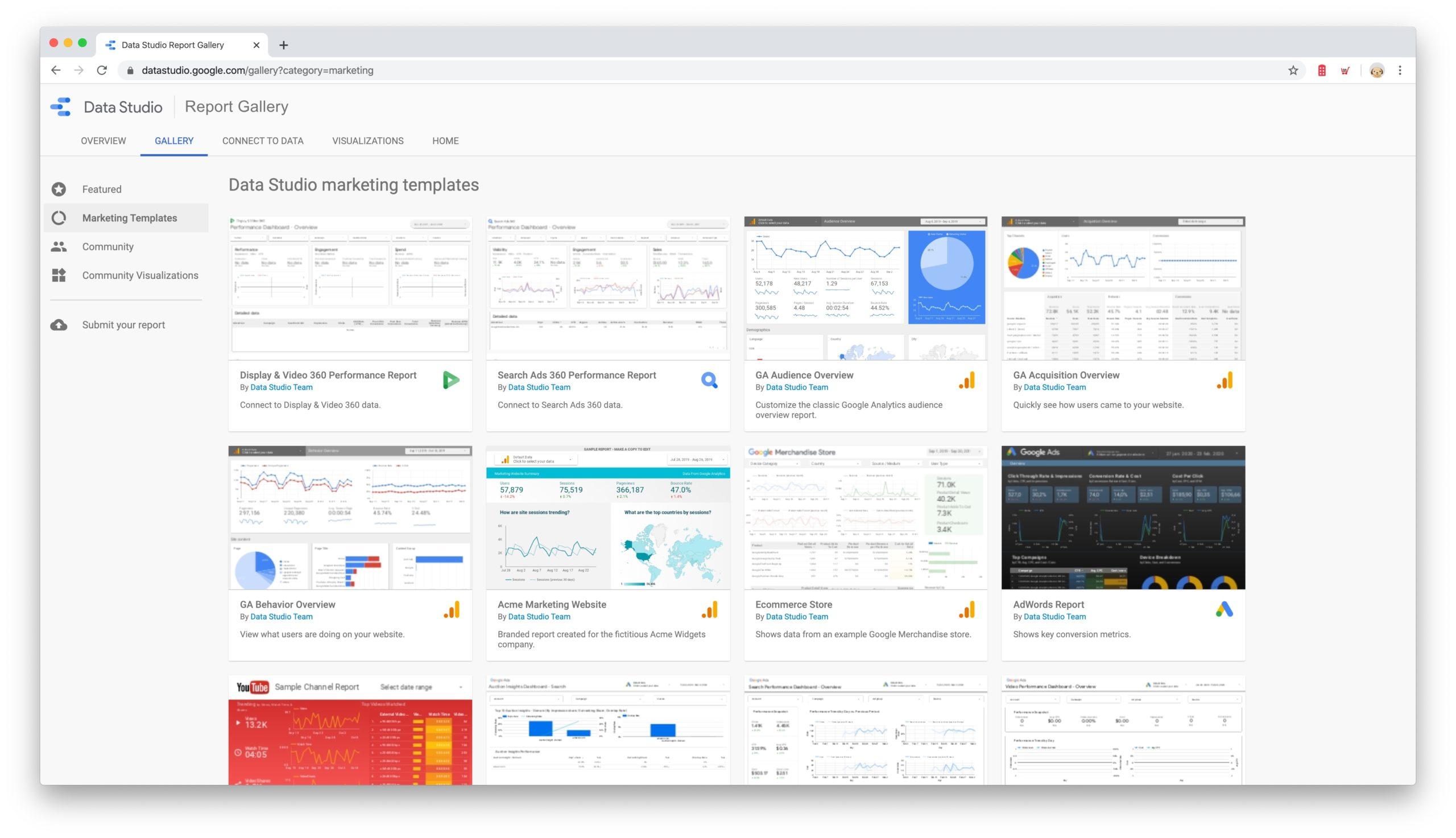 Data Studio report gallery