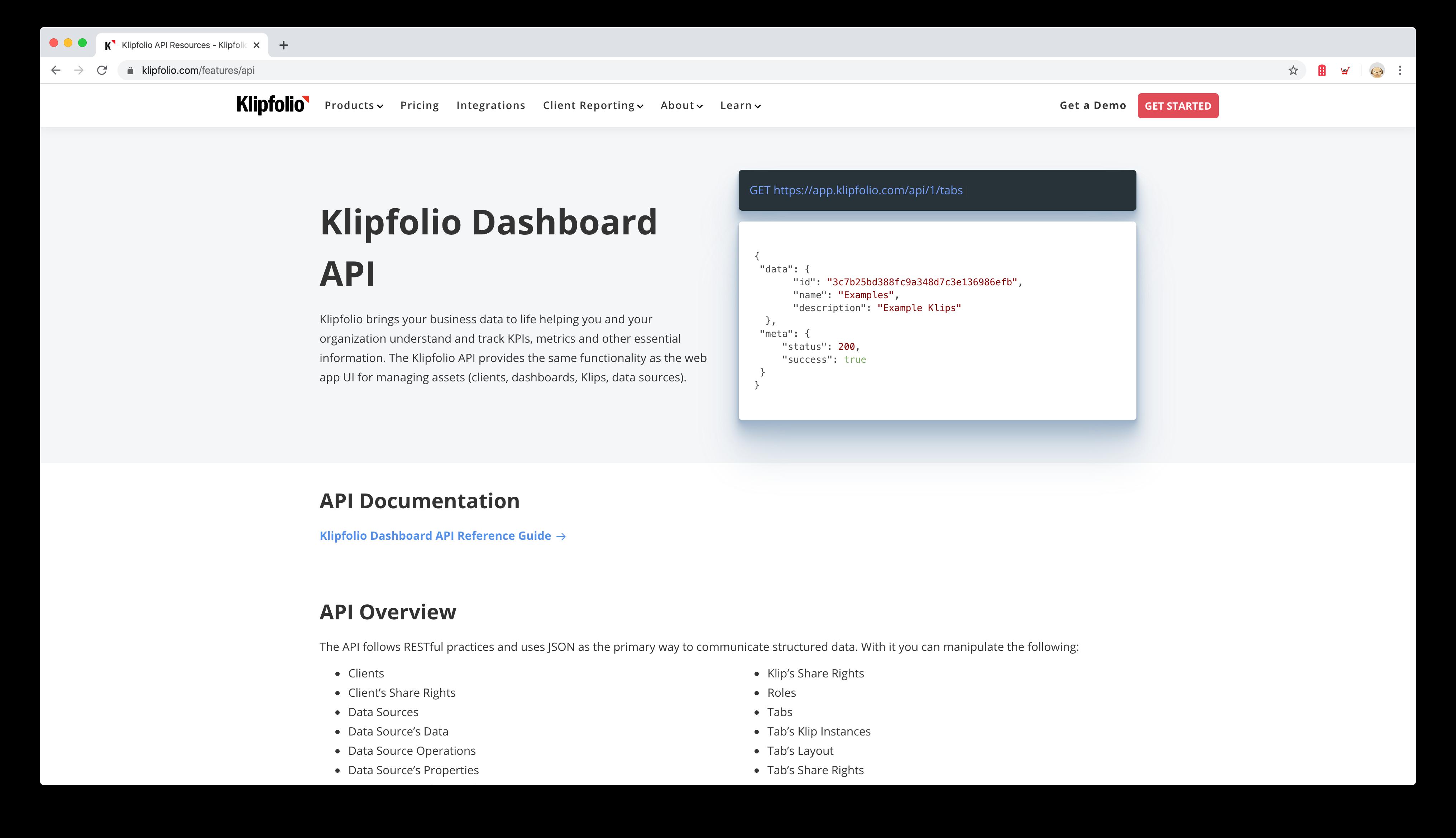 klipfolio allows you to scale - API