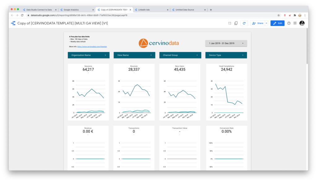 Multiple view Google Analytics Data Studio connector template